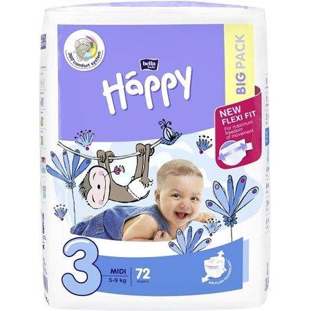 Pieluszki dla dzieci Happy Midi 72 SZT