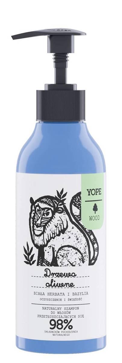YOPE WOOD szampon włosy przetłuszczające drzewo oliwne biała herbata bazylia 300ml