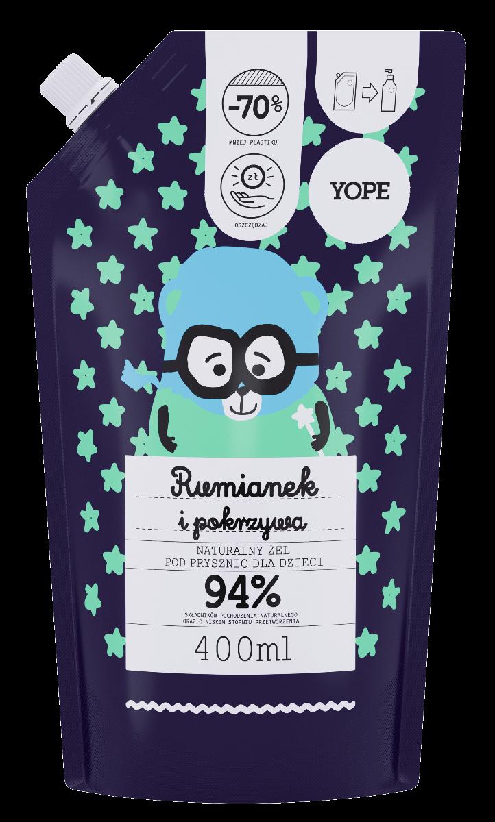 YOPE żel pod prysznic dla dzieci rumianek i pokrzywa 400ml zapas