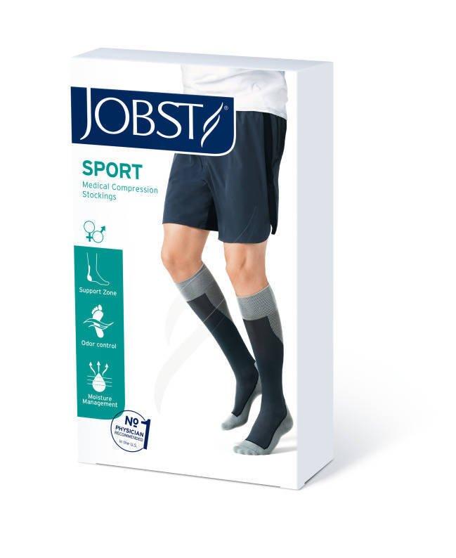 Jobst Sport podkolanówki zamknięte palce 15-20mmHg szary/grafit l