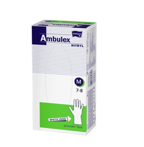 Rękawice niejałowe ambulex nitrylowe niepudrowane białe M 100 szt
