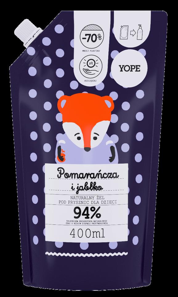 YOPE żel pod prysznic dla dzieci pomarańcza i jabłko 400ml zapas
